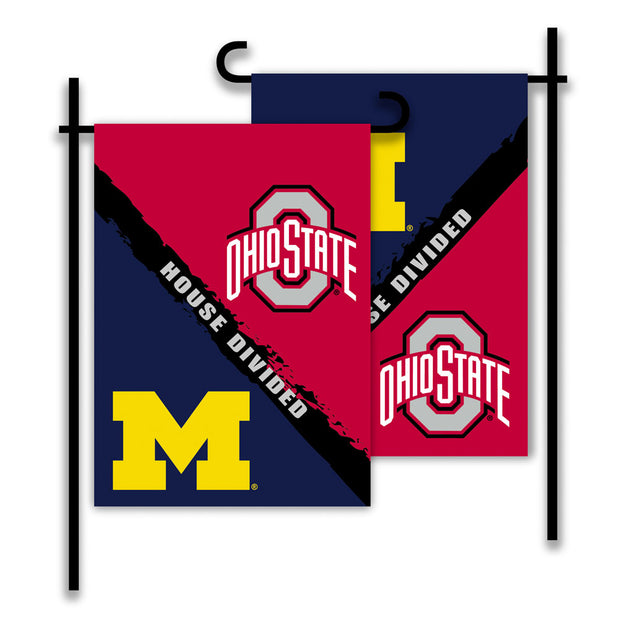 Michigan Wolverines vs Ohio State Buckeyes House Divided Garden Flag - Team Sports Gift