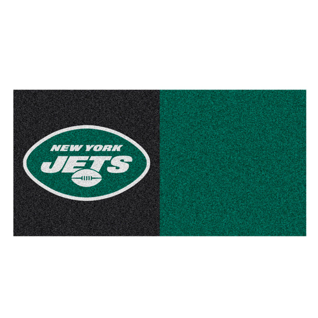 New York Jets Green/Black Team Proud Carpet Tiles in Man Cave Setting