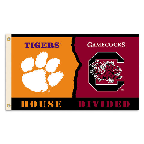 Clemson Tigers-South Carolina Gamecocks House Divided Flag