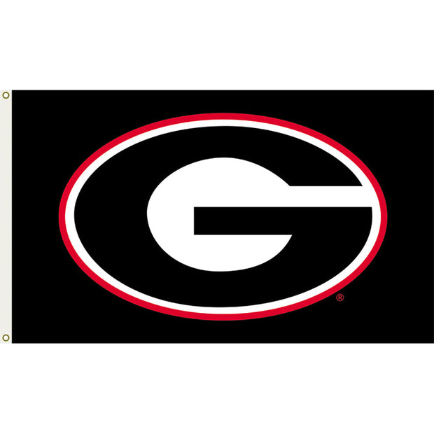 Georgia Bulldogs Black Team Logo Flag - Team Sports Gift