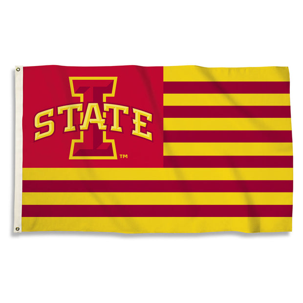 Iowa State Cyclones Team Logo Stripe Flag