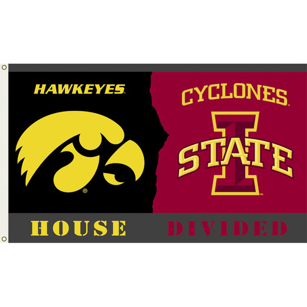 Iowa Hawkeyes -Iowa State Cyclones House Divided Flag - Team Sports Gift