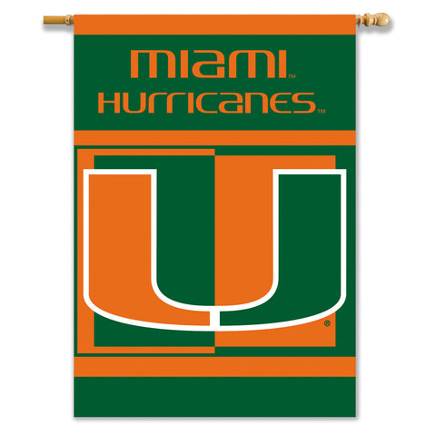 Miami Hurricanes 2-Sided Outdoor Banner Flag