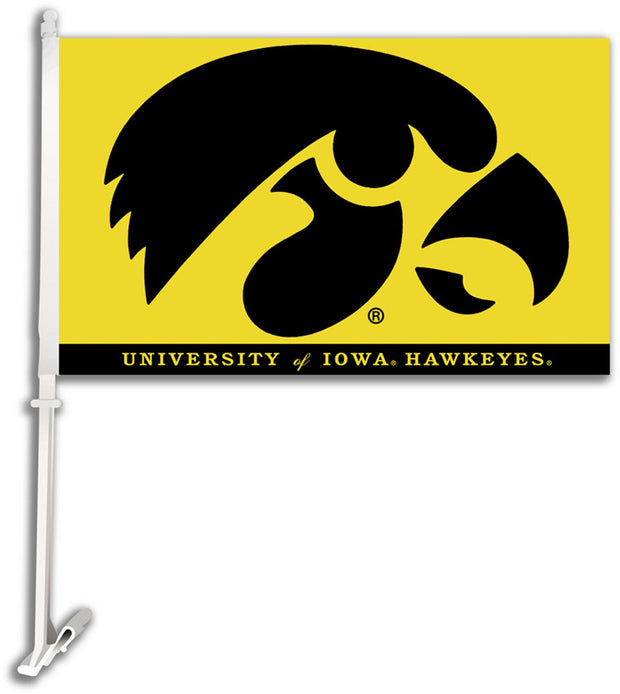 Iowa Hawkeyes Mascot Car Flag