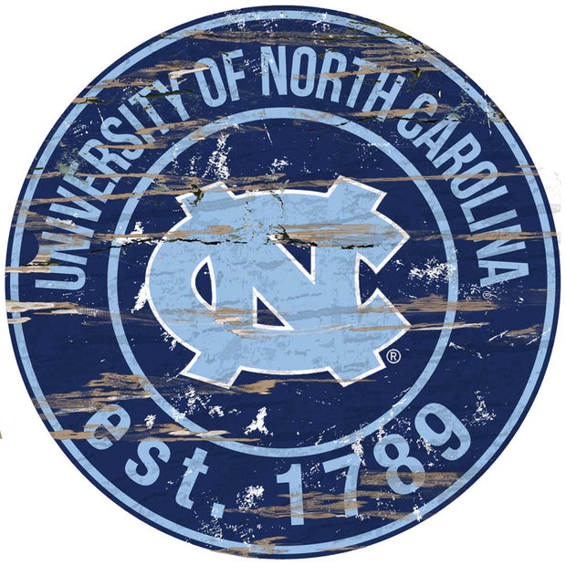 Round UNC Tar Heels Established Date Wall Decor