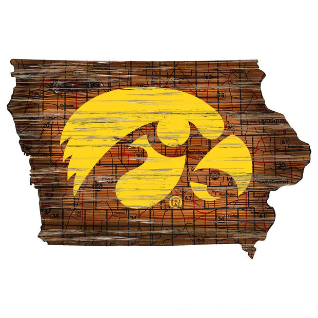 Distressed Iowa Hawkeyes State with Logo Wall Art