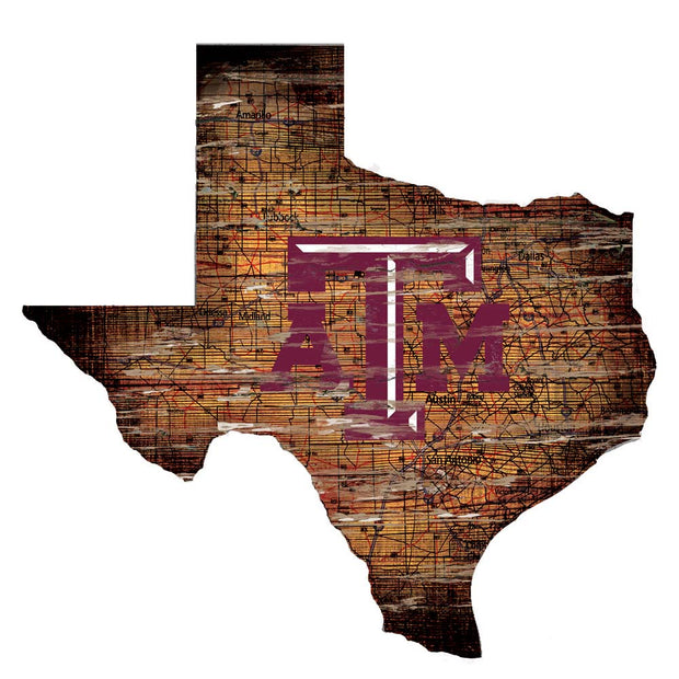 Distressed Texas A&M Aggies State with Logo Wall Art - Team Sports Gift