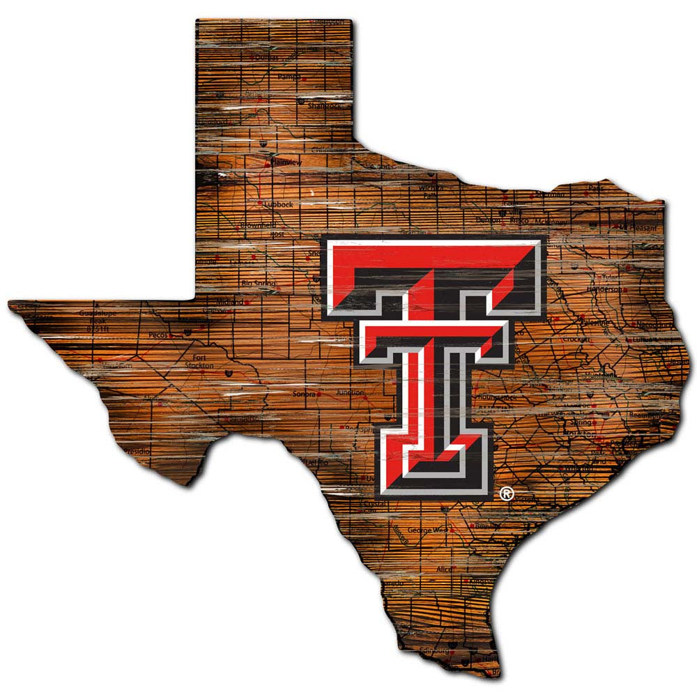 Distressed Texas Tech Red Raiders State with Logo Wall Art