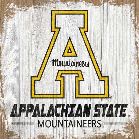 Antiqued Appalachian State Mountaineers Team Logo Block