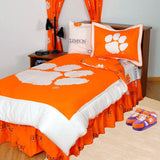 Clemson Tigers Bed in a Bag w/ White Team Logo Sheets