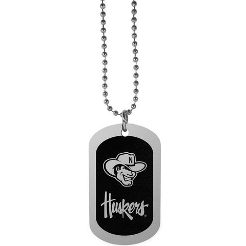 Laser Etched Nebraska Cornhuskers Chrome Dog Tag Necklace