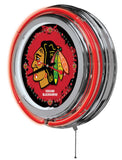 Chicago Blackhawks Neon Light Clock