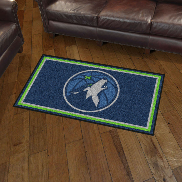 "Minnesota Timberwolves ""Basketball and Wolf"" Partial Logo Plush Rug"