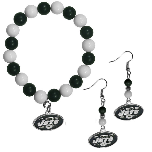 New York Jets Fan Bead Bracelet and Earrings Set