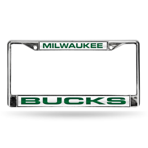 Colored Chrome Milwaukee Bucks White Vanity License Frame