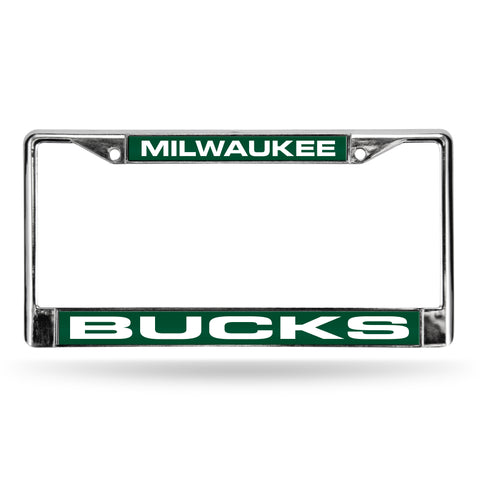 Colored Chrome Milwaukee Bucks Green Vanity License Frame