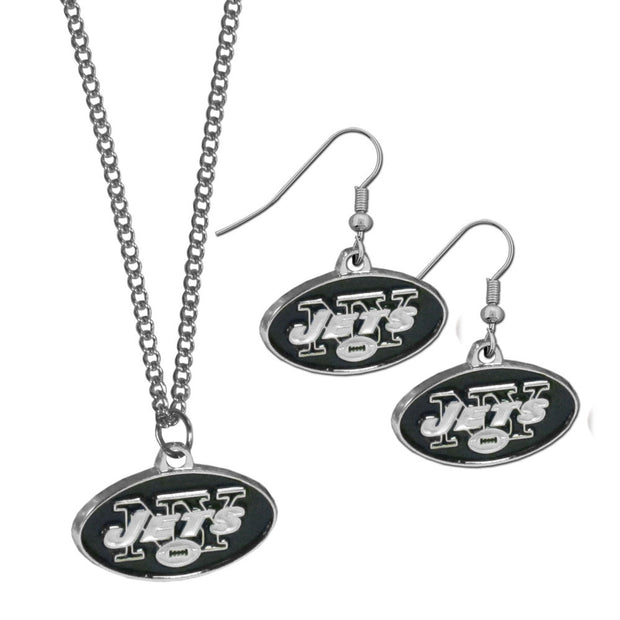 New York Jets Classic Necklace and Chrome Dangle Earrings Set
