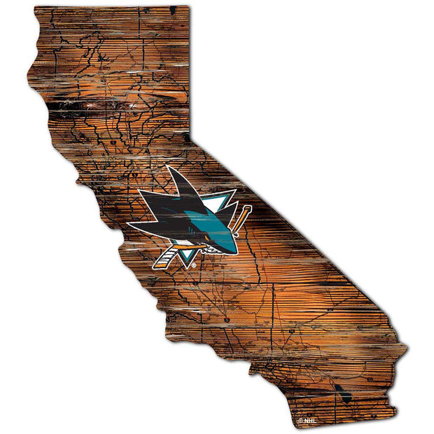 Distressed San Jose Sharks State with Logo Wall Art - Team Sports Gift