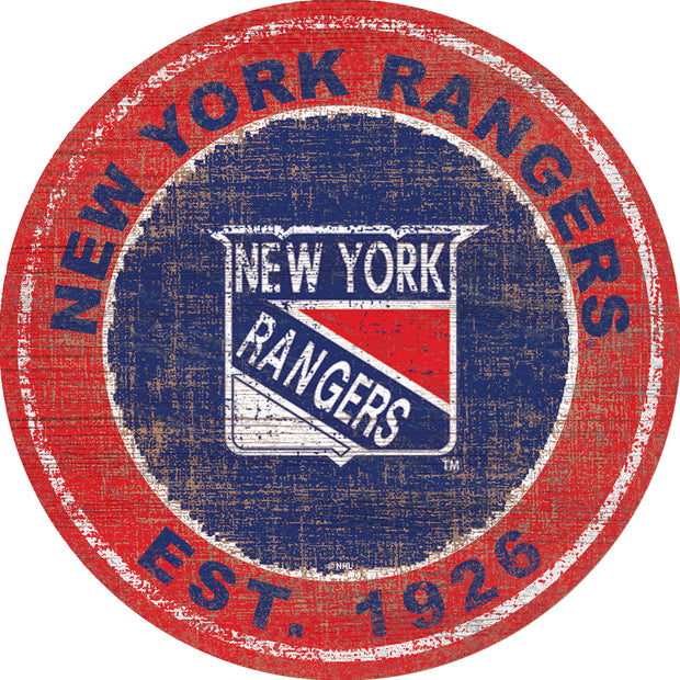 Distressed New York Rangers Retro Logo Sign
