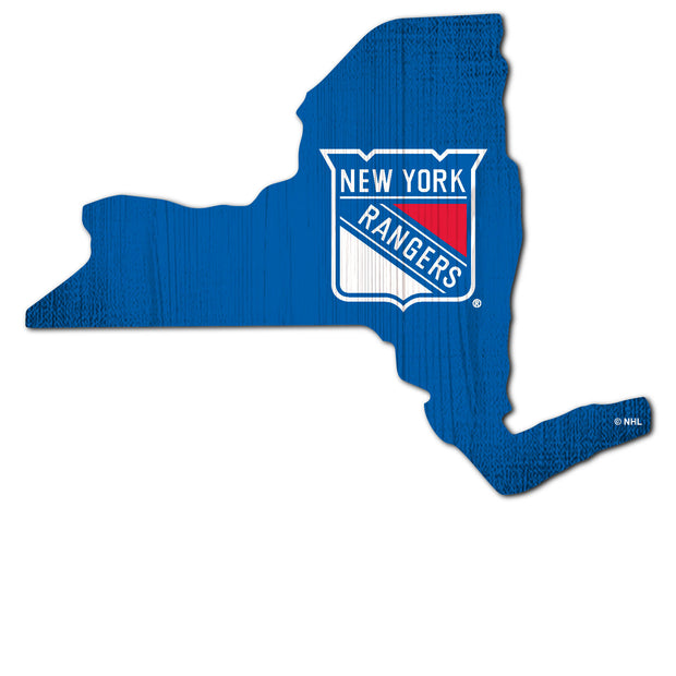 New York Rangers State Shape Sign in Team Color