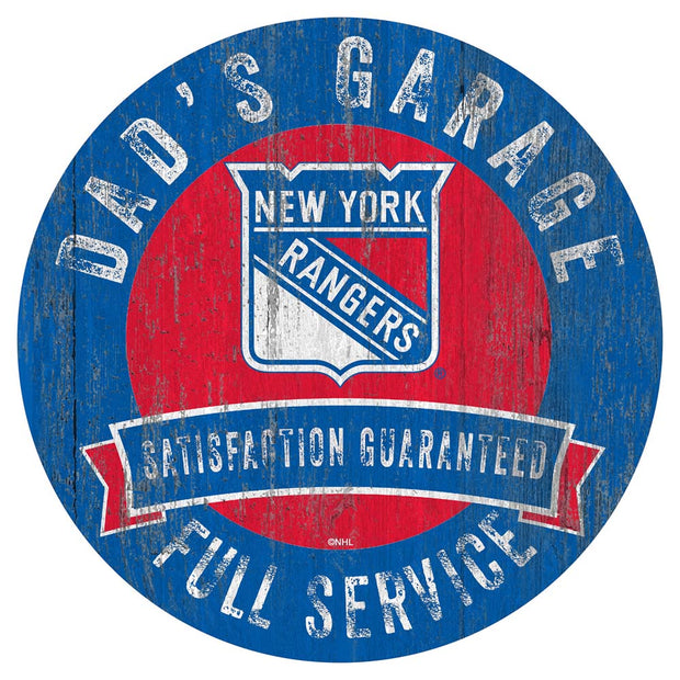 New York Rangers Dad's Full Service Garage Sign