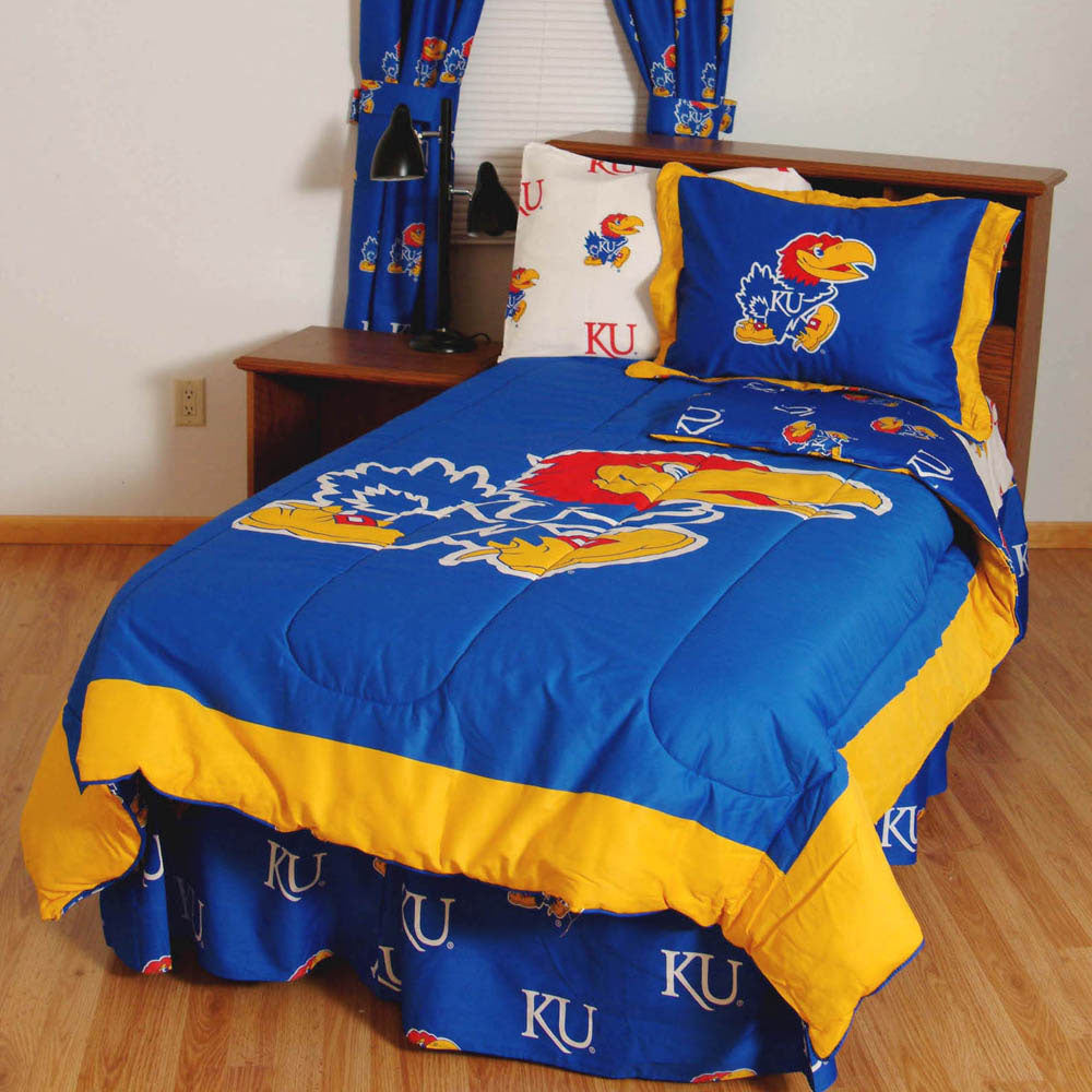 Kansas Jayhawks Bed in a Bag w/ White Team Logo Sheets
