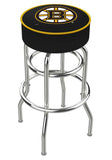 Boston Bruins Double Ring Chrome Swivel Bar Stool