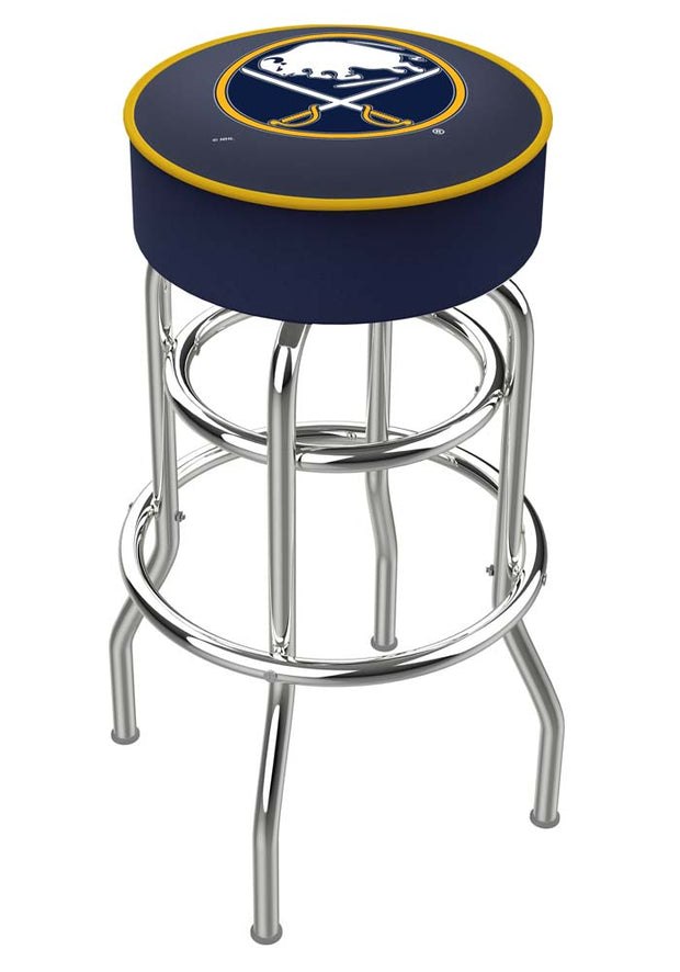 Buffalo Sabres Double Ring Chrome Swivel Bar Stool