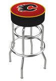 Calgary Flames Double Ring Chrome Swivel Bar Stool