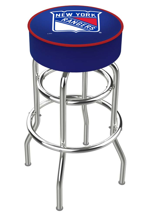 New York Rangers Double Ring Chrome Swivel Bar Stool - Team Sports Gift