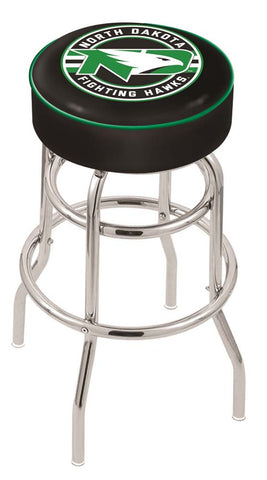 North Dakota Fighting Hawks Double Ring Chrome Swivel Bar Stool