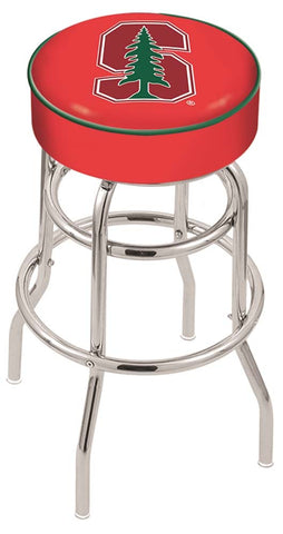Stanford Cardinals Double Ring Chrome Swivel Bar Stool