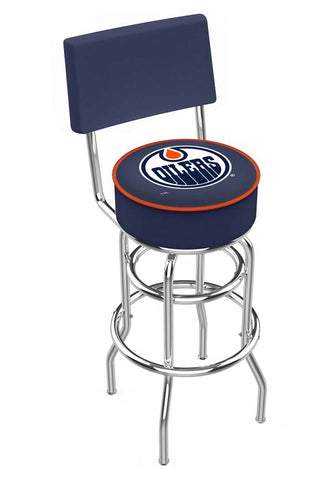 Chrome Edmonton Oilers Double-Rung Swivel Back Bar Stool