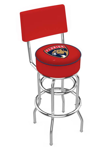 Chrome Florida Panthers Double-Rung Swivel Back Bar Stool