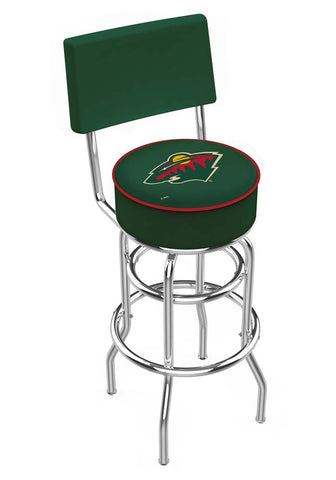 Chrome Minnesota Wild Double-Rung Swivel Back Bar Stool