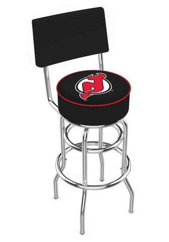 Chrome New Jersey Devils Double-Rung Swivel Back Bar Stool
