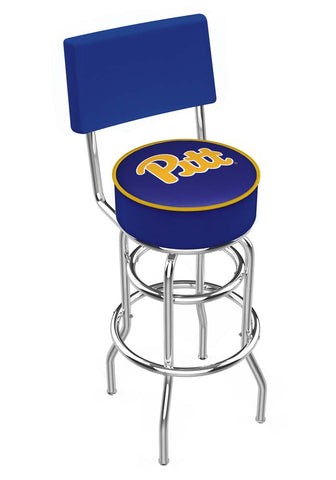 Chrome Pittsburgh Panthers Double-Rung Swivel Back Bar Stool