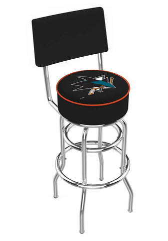 Chrome San Jose Sharks Double-Rung Swivel Back Bar Stool