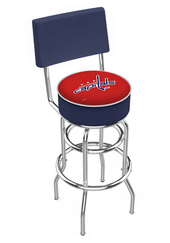 Chrome Washington Capitals Double-Rung Swivel Back Bar Stool