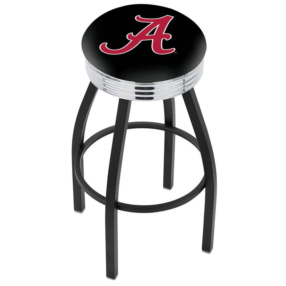 Alabama Crimson Tide Chrome Swivel Stool Ribbed Ring w/ Logo Seat