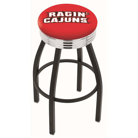 Louisiana Ragin' Cajuns Chrome Swivel Stool Ribbed Ring
