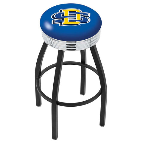 South Dakota State Jackrabbits Chrome Swivel Stool Ribbed Ring