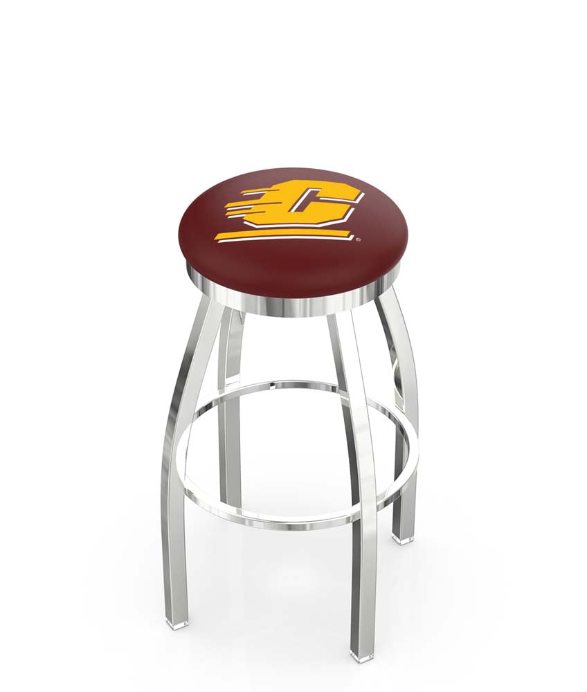 Central Michigan Chippewas Chrome Single Rung Swivel Barstool