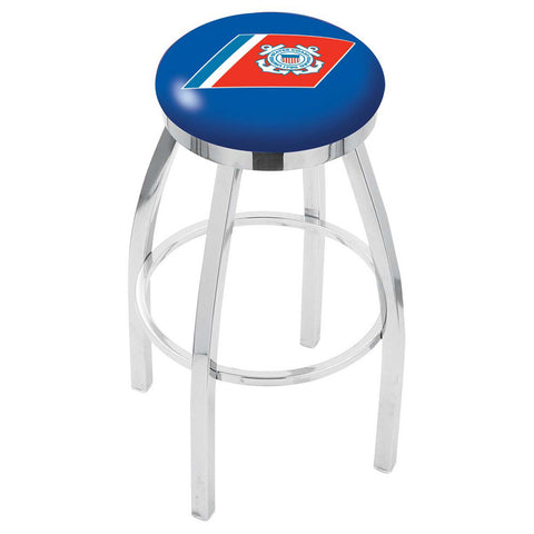 Coast Guard Bears Chrome Single Rung Swivel Barstool