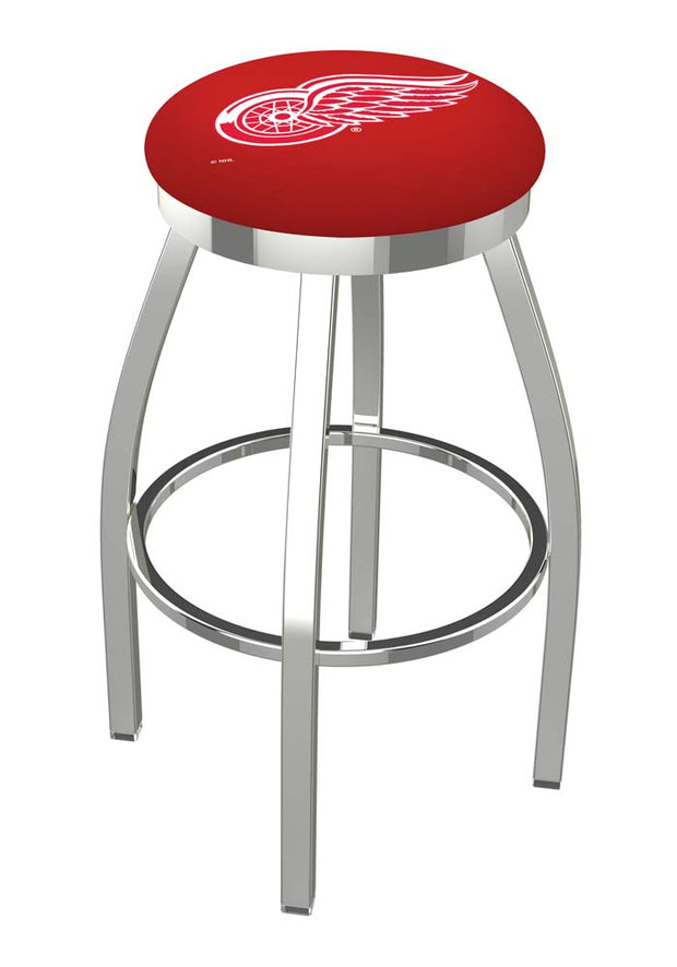 Detroit Red Wings Chrome Single Rung Swivel Barstool