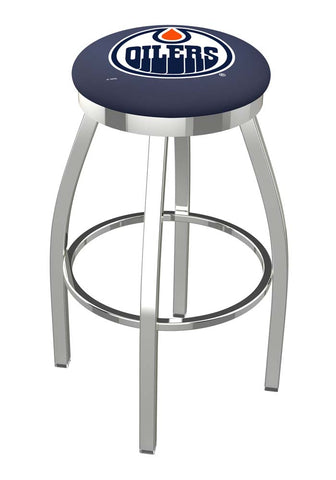 Edmonton Oilers Chrome Single Rung Swivel Barstool