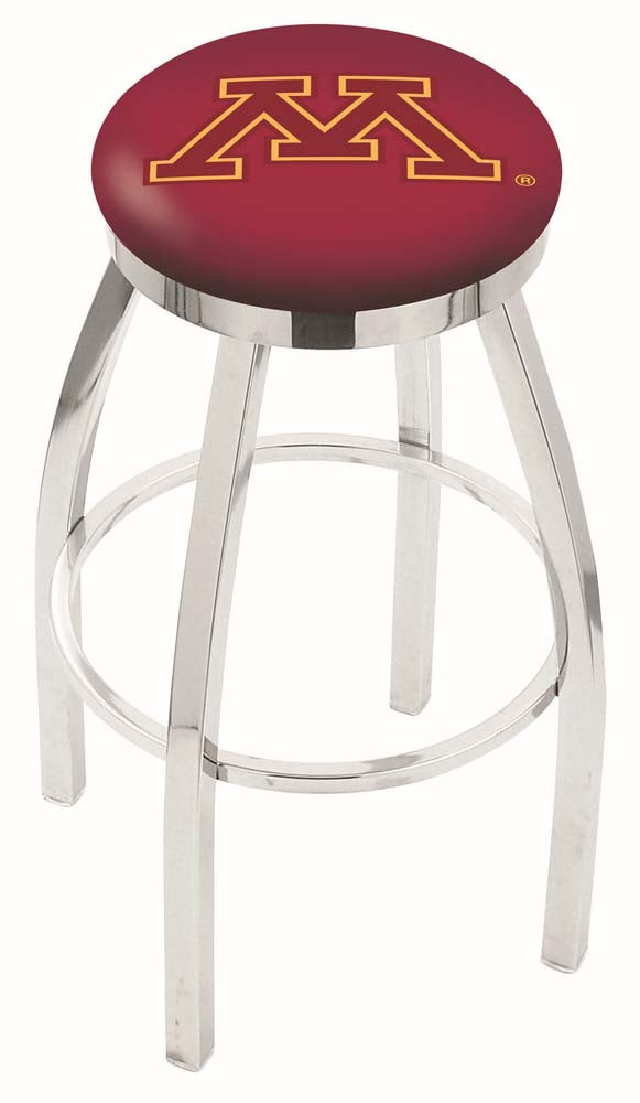 Minnesota Golden Gophers Chrome Single Rung Swivel Barstool