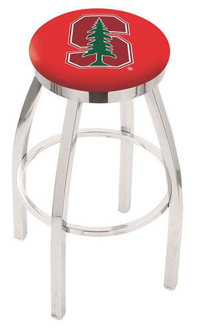 Stanford Cardinals Chrome Single Rung Swivel Barstool