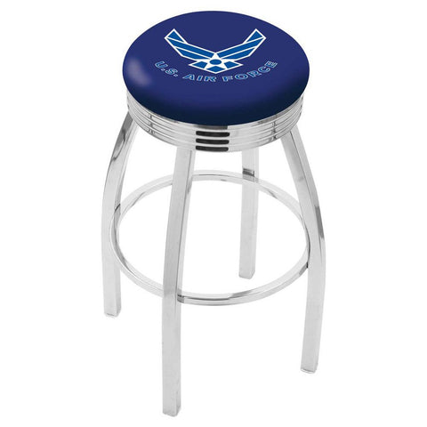 Air Force Falcons Ribbed Chrome Swivel Bar Stool