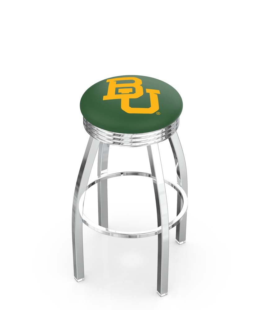 Baylor Bears Ribbed Chrome Swivel Bar Stool